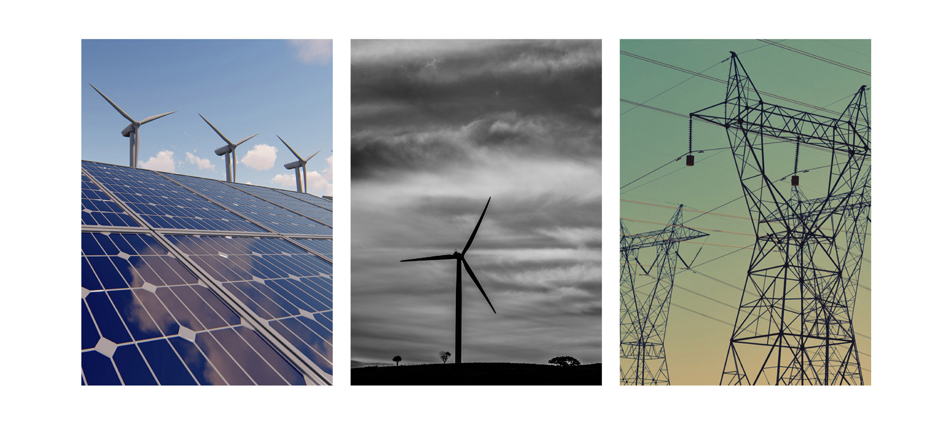 Wind and Solar Farm Images and Power lines transmitting energy
